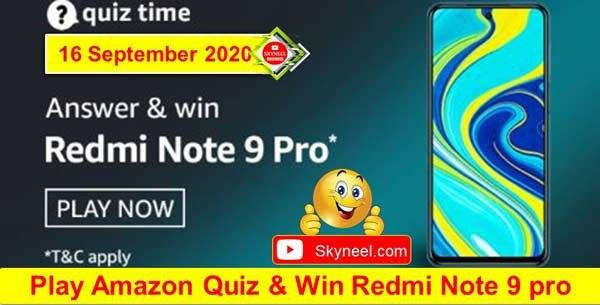 Amazon Quiz Answers - Redmi Note 9 Pro